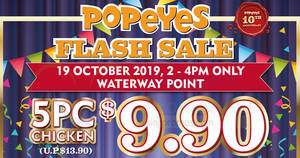 Popeyes Flash Sale at Waterway Point on 19 Oct 2019