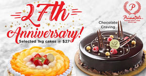 PrimaDeli is offering selected 1kg cakes including Chocolate Cravings at $27 each (U.P $43.80) till 17 Oct 2019