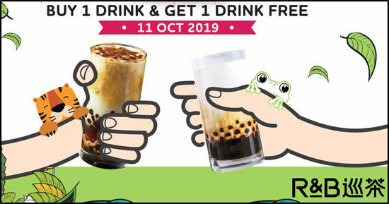 Featured image for R&B Tea S'pore 1-For-1 Drinks Islandwide Promo on Friday, 11 October 2019