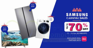 Featured image for Samsung Carnival Sale at Singapore Expo from 11 to 13 October 2019