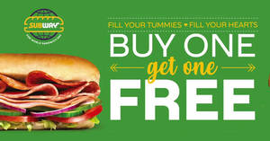 Featured image for Subway: Buy One, Get One Free at Suntec City outlet on 30 December 2019