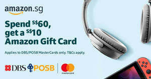 Amazon.SG: Spend S$60 with DBS/POSB MasterCards and above and get a S$10 Amazon Gift Card till 27 Nov 2019