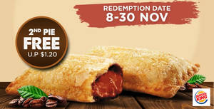 Burger King: 1-for-1 Kopi Siew Dai Pie from 9 November 2019
