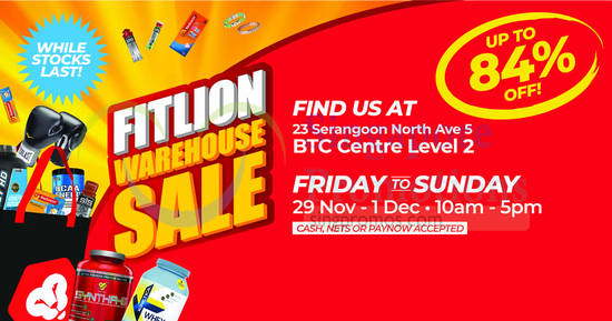 Featured image for Fitlion Warehouse Sale from 29 November - 1 December 2019