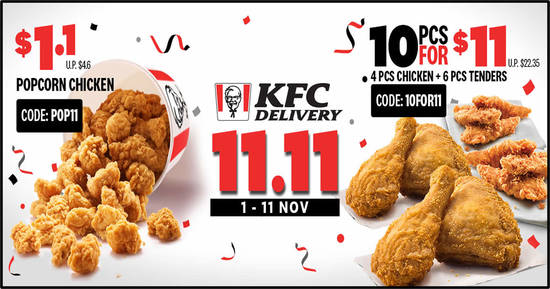 Featured image for KFC Delivery 11.11 Online Exclusive Codes valid till 11 November 2019