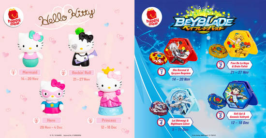 Featured image for McDonald's latest Happy Meal toys features Hello Kitty and Beyblade! From 14 Nov - 18 Dec 2019