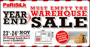 Samsung, Panasonic, LG & more at Parisilk's Year-End Warehouse Sale (23 – 24 Nov 2019)