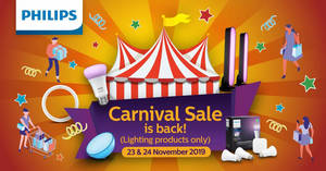 Philips Carnival Sale from 23 – 24 Nov 2019