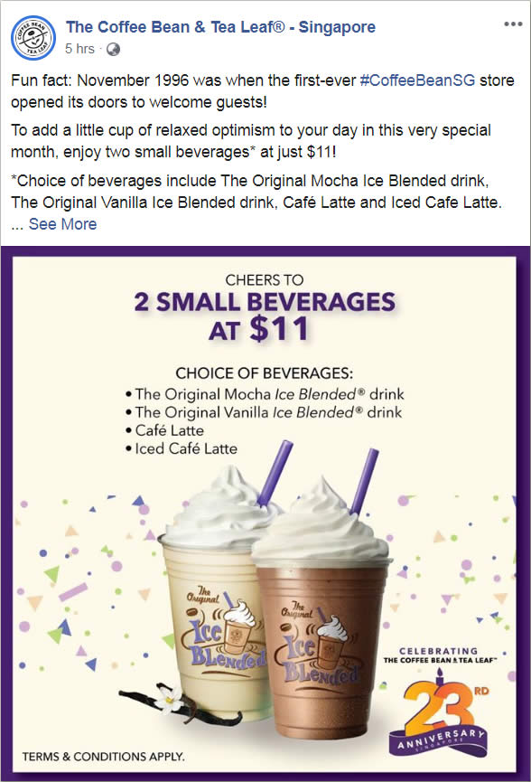 The Coffee Bean Tea Leaf Is Offering Two Beverages At Just 11 Till 28 November 2019