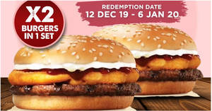 Burger King: 12.12 Deal – One set of 2 Applewood Rodeo burgers for $5.90 deal from 10 Dec 2019