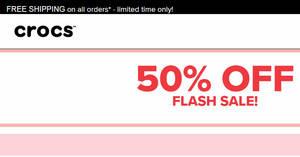 Crocs: 50% OFF flash sale on selected items till 13 December 2019