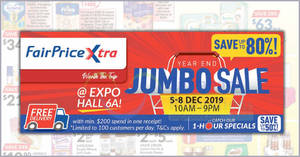 Save up to 80% off at Fairprice Xtra's Year End Jumbo Expo Sale from 5 – 8 December 2019
