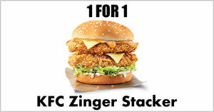 KFC: 1-for-1 Zinger Stacker burger (Dine-in / Takeaway / Delivery) with DBS/POSB cards till 20 December 2019