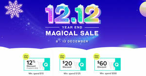Qoo10: 12.12 Year End Magical Sale Sale – grab 12%, $20 & $60 cart coupons till 13 December 2019