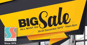 Featured image for Sintex annual warehouse sale from 20 – 25 Dec 2019