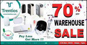 Trentios Air Conditioner and Water Heater Warehouse Sale from 6 – 8 Dec 2019