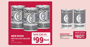 Cold Storage: 3-for-$99 New Moon New Zealand Abalone, 2-for-$80 New Moon AUS Abalone & more valid till 19 Jan 2020