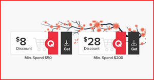 Qoo10: Grab free $8 and $28 cart coupons till 27 January 2020