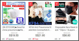 Protective Masks are swamping Qoo10's Best Sellers list (as of 26 Jan '20)
