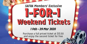 Featured image for SAFRA cardholders enjoy 1-for-1 Weekend Movie Tickets at all Shaw Theatres Box Offices (1 Feb – 29 Mar 2020)
