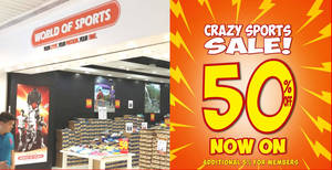 World of Sports is having a 50% off crazy sale at 3 outlets (From 17 Jan 2020)