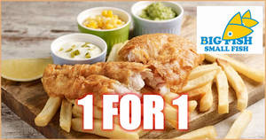Big Fish Small Fish is offering 1-for-1 Classic Fish & Chips at JCube outlet till 29 February 2020