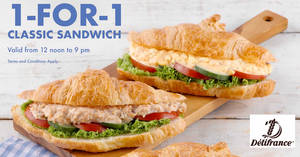Delifrance to offer 1-for-1 Classic Mayo Sandwich from 18 – 21 Feb 2020