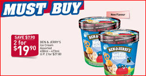 Fairprice: Ben & Jerry's including the new Netflix & Chilll'd flavour are going at 2-for-$19.90 (U.P. $27.80) till 26 Feb 2020