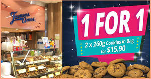 Famous Amos is offering 1-for-1 260g Cookies in Bag for all flavours till Sunday, 23 February 2020