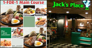 Jack's Place is offering 1-For-1 Main Course during Happy Hour on weekdays till 31 Mar 2020