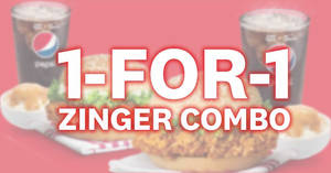 KFC Delivery is offering a 1-for-1 Zinger Combo deal valid for takeaways too (from 19 February 2020)