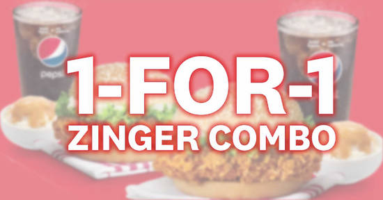 Featured image for KFC Delivery is offering a 1-for-1 Zinger Combo deal valid for takeaways too (from 19 February 2020)
