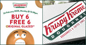 Krispy Kreme will be offering a Buy-6-Get-6-Free Original Glazed doughnuts deal on 24 February 2020