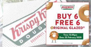 Krispy Kreme will be offering a Buy-6-Get-6-Free Original Glazed doughnuts deal on Tuesday, 25 February 2020