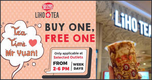 LiHO is offering 1-for-1 ALL drinks on weekdays at 15 selected outlets (From 25 Feb '20)
