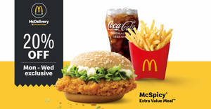 McDonald's is offering 20% off McSpicy Extra Value Meal via delivery orders till 26 February 2020