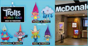 McDonald's latest Happy Meal toys features characters from the new Trolls World Tour movie (27 Feb – 1 April 2020)