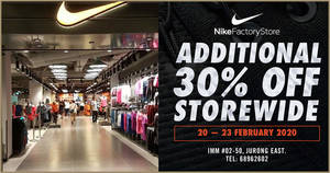 Nike Factory Store is throwing 30% off storewide purchases at IMM outlet till 23 February 2020