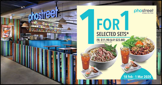 Featured image for Pho Street is running a 1-for-1 promotion on selected sets at most outlets (till 1 March 2020)
