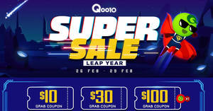 Qoo10: Super Sale – grab $10, $30 & $100 cart coupons daily (26 – 29 Feb)