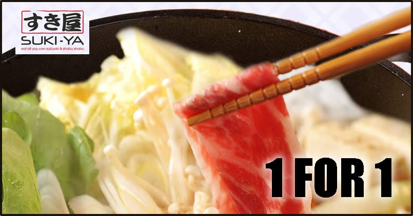 Featured image for SUKI-YA is offering 1-for-1 buffet promotion at their Plaza Singapura outlet from 5 - 8 July 2021