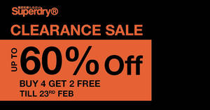 Superdry Online: Up to 60% off sale items. Weekend Special: Buy 4 get 2 free (sale items only)
