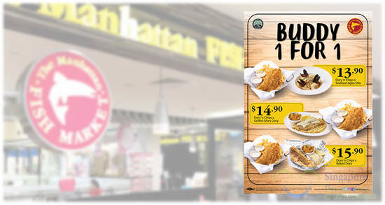 Featured image for The Manhattan FISH MARKET is offering Buddy 1-for-1 deals from 5th - 10th Feb 2020 at all outlets