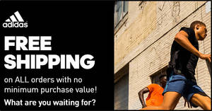 Adidas S'pore online store is offering free shipping with no min spend or purchase till 31 March 2020