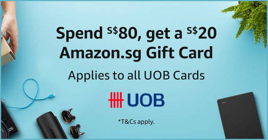 Featured image for Amazon.sg: Spend S$80 or more using your UOB card, and get S$20 added to your Amazon.sg Gift Card balance (1 - 31 Mar)