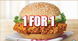 KFC is offering 1-for-1 Zinger burger via Dine-in, Takeaway, and KFC Delivery till 30 October 2020