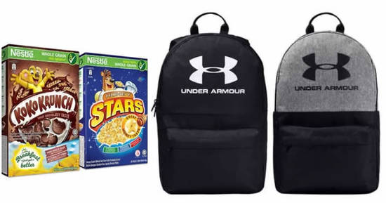 Featured image for Redeem a free Under Armour backpack worth $49 when you purchase $35 worth of Nestlé Breakfast Cereals (6 March - 19 April '20)