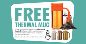OG is giving away free Kukeri 520ml thermal mugs each worth $49.90 to staff of public acute hospitals (From 26 March 2020)
