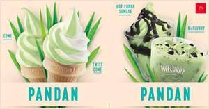 Featured image for McDonald's brings back Pandan Cones, Pandan Hot Fudge Sundae/McFlurry and Kit Kat McFlurry at Dessert Kiosks (From 19 March '20)