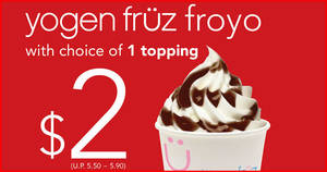 Featured image for Swensen's high calcium low-fat frozen yogurt Yogen Fruz is going at $2++ with a choice of complimentary topping till 31 March 2020